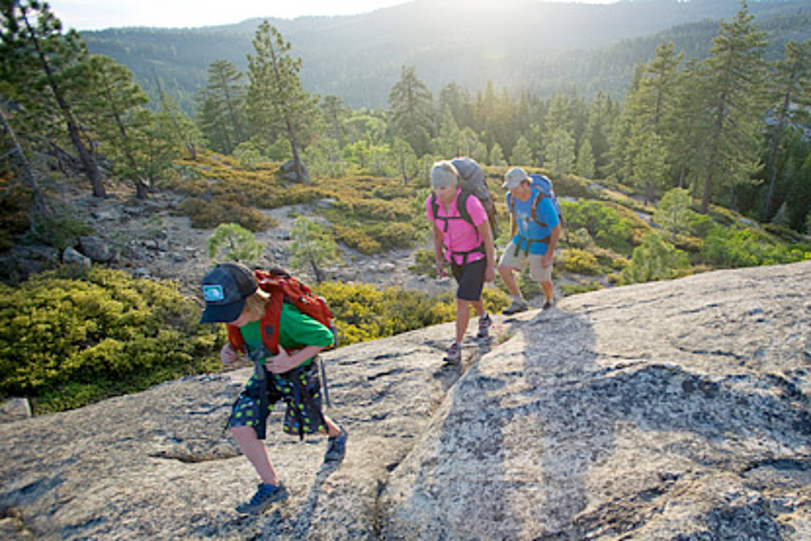 Kids Hiking on stone